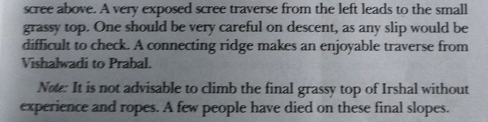 Irshalgad excerpt from Trek the sahyadris by Harish Kapadia