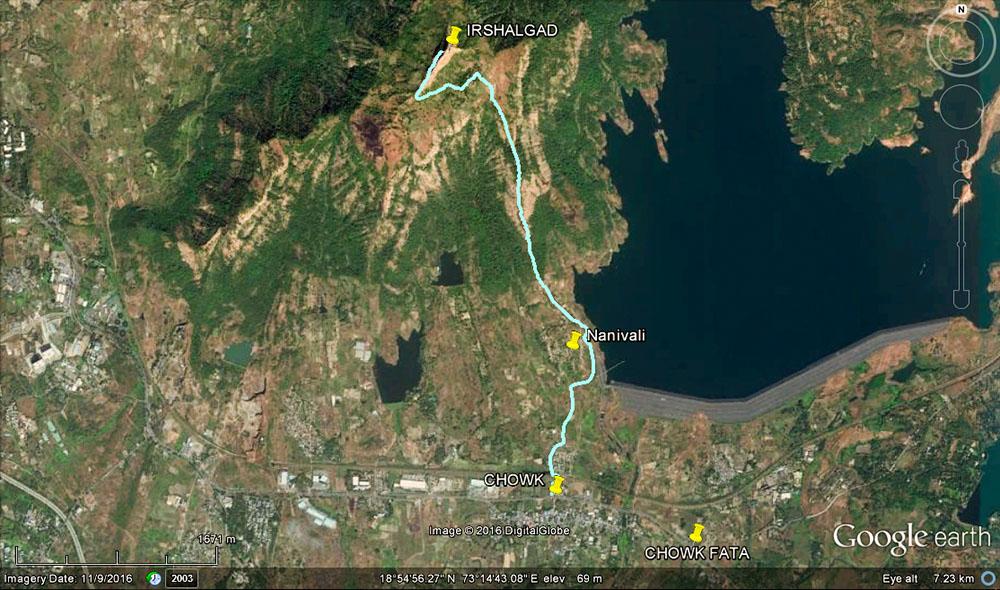 satellite imagery of Irshalgad fort region.