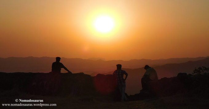 three people sunset at Rajgad