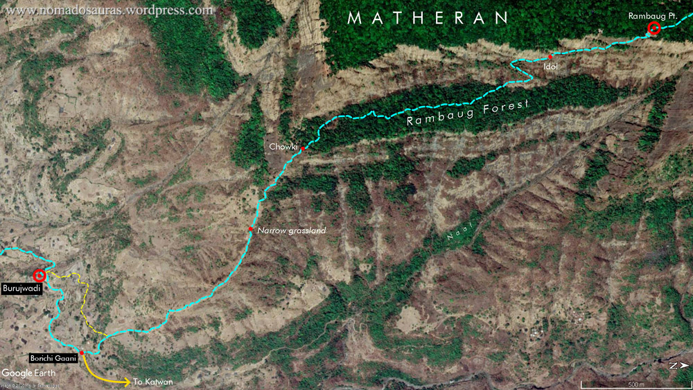 Map of Matheran trekking route via Rambaug point