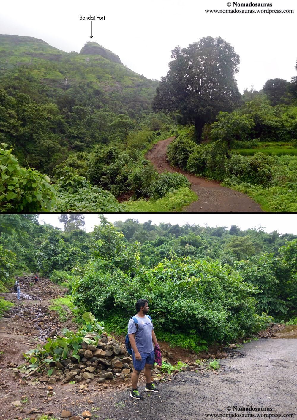 photo of sondai fort trek route